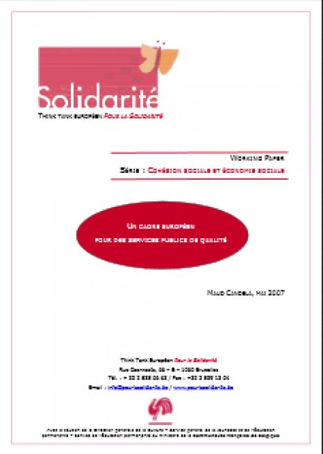 image couverture U N CADRE EUROPÉEN POUR DES SERVICES PUBLICS DE QUALITÉ